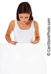 Woman behind blank board