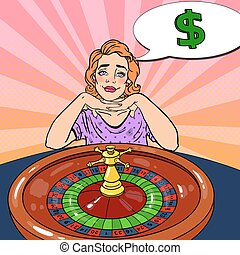 Woman Behind Roulette Table Dreaming About Big Win. Casino Gambling. Pop Art Vector retro illustration
