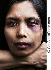 Woman being chocked and hurt, concept for domestic violence