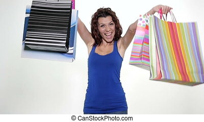 Woman being excited about shopping