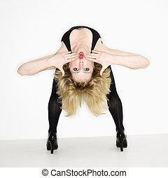 Woman bending over backwards.