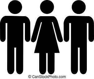 Woman between two men pictogram