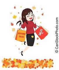 woman bevásárol, boldog, értékesítések, ősz