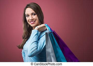 woman bevásárol, boldog