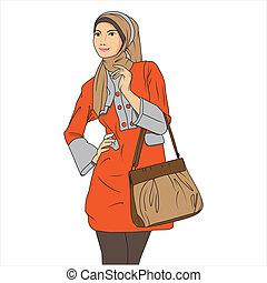 woman bevásárol, mohamedán