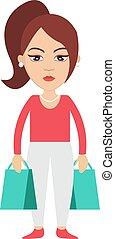 woman bevásárol, pantalló, ábra, háttér., vektor, fehér