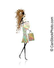 woman bevásárol, terhes, táska, tervezés, -e