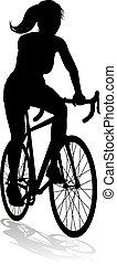 Woman Bike Cyclist Riding Bicycle Silhouette - A woman...