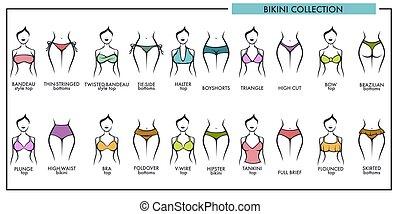 Woman bikini types collection vector icons of fashion...