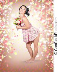 woman, blüten hält, in, hands., fruehjahr, feier
