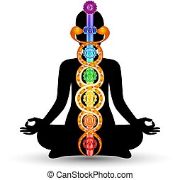 Woman black silhouette in yoga position with the colorful symbols of seven chakras