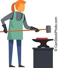 Woman blacksmith icon, flat style