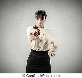 Woman blaming you - Business woman blaming you