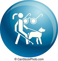 Woman blind dog guide icon, simple style