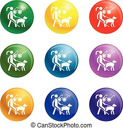 Woman blind dog guide icons set vector