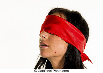 woman blindfolded - a young blindfolded woman.
