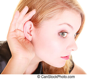 woman blonde buisnesswoman listening isolated