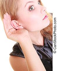 woman blonde buisnesswoman listening isolated - gossip....