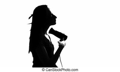 Woman blow-dry, white background - Silhouette of a woman...