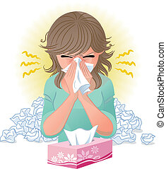 blowing nose - Woman blowing nose. Hay fever, allergy, flu. ...
