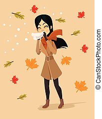 Woman blowing nose. Vector flat cartoon illustration