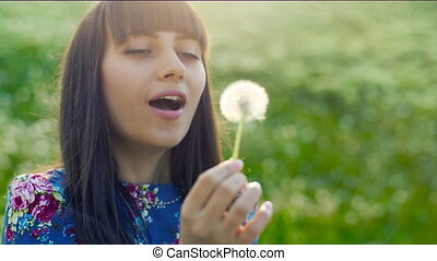 Woman Blowing on a Dandelion at sunset - Woman blowing...