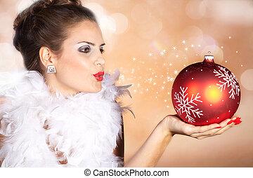 Woman blowing stardust