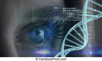 Woman blue eye with binary code and spinning DNA