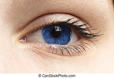 Woman blue eye with long eyelashes