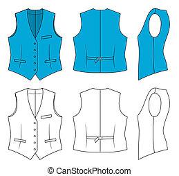 Woman blue waistcoat - Outline blue waistcoat vector...