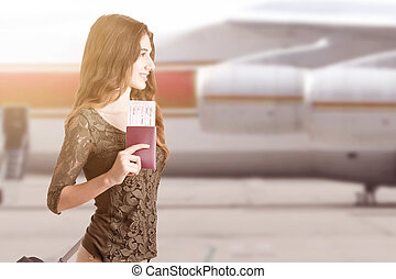 Woman Boarding an Airplane