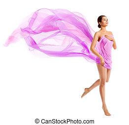 Woman Body Beauty, Fashion Model in Waving Silk Fabric, ...