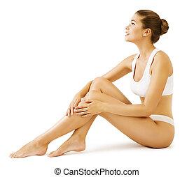 Woman Body Beauty, Model Girl Sitting in White Underwear, touch Leg Skin