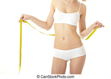 Woman body care and yellow measure on thighs