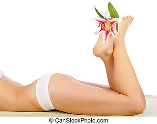 Woman Body Care - Beautiful Woman Body Lying With Legs ...