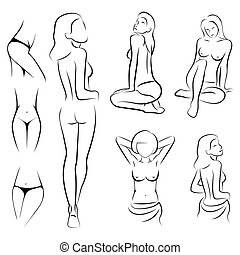 woman body - female sexy, intime, beauty body outline parts,...