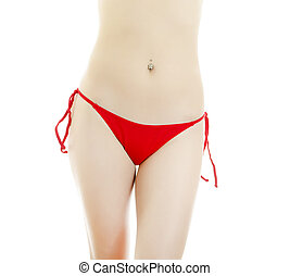 Woman body in red panties. Isolated on white.
