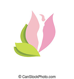 Woman body silhouette in flower bud - Young woman body...