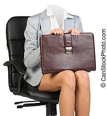 Woman body sitting in chair