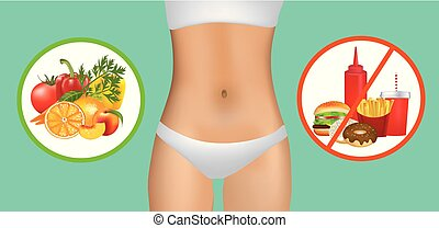 Woman body with healthy and unhealthy food, vector