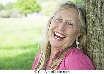 woman., boldog, nevető, idősebb