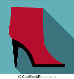 Woman boot icon, flat style