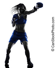 woman boxer boxing kickboxing silhouette isolated - one...