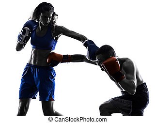 woman boxer boxing man kickboxing silhouette isolated - one...