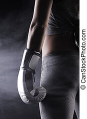Woman boxer  - Young woman boxer, close up