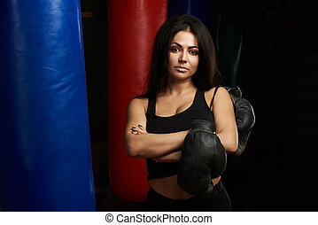 Woman boxing concept