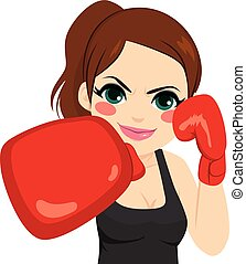 Woman Boxing Gloves - Sport woman boxing with red gloves...