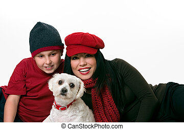 Woman, boy and dog