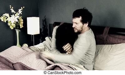 Woman breaking up with boyfriend - Sad woman sending away...