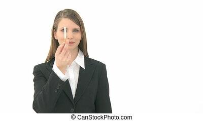 Woman breaks cigarette in two pieces